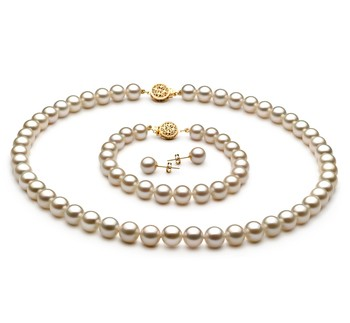 White 7-8mm AAAA Quality Freshwater Gold filled Cultured Pearl Set