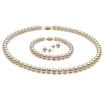 White 6-7mm AA Quality Freshwater Cultured Pearl Set