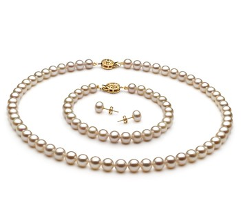 White 6-7mm AAA Quality Freshwater Gold filled Cultured Pearl Set