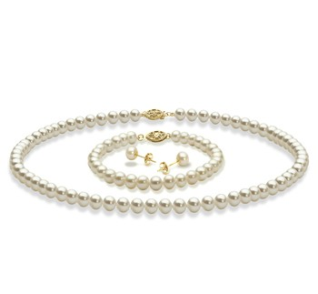 White 5-6mm AAA Quality Freshwater Cultured Pearl Set