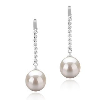 Porsha White 10-11mm AAAA Quality Freshwater 925 Sterling Silver Cultured Pearl Earring Pair