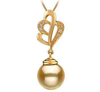 Prudence Gold 10-11mm AAA Quality South Sea 14K Yellow Gold Cultured Pearl Pendant