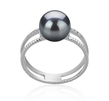 Rahara Black 8-9mm AAA Quality Japanese Akoya 925 Sterling Silver Cultured Pearl Ring