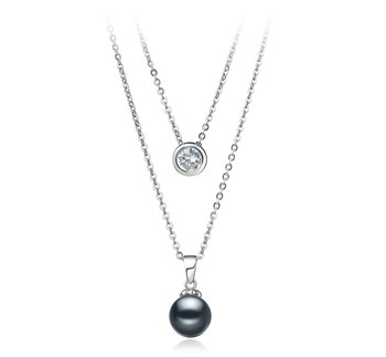 Ramona Black 7-8mm AAAA Quality Freshwater 925 Sterling Silver Cultured Pearl Necklace