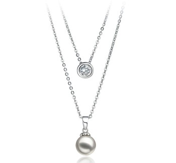 Ramona White 7-8mm AA Quality Japanese Akoya 925 Sterling Silver Cultured Pearl Necklace