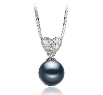 Randy Black 7-8mm AAAA Quality Freshwater 925 Sterling Silver Cultured Pearl Pendant