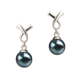 Riley Black 6-7mm AA Quality Japanese Akoya 925 Sterling Silver Cultured Pearl Earring Pair