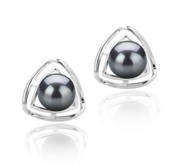 Rowan Black 6-7mm AAAA Quality Freshwater 925 Sterling Silver Cultured Pearl Earring Pair