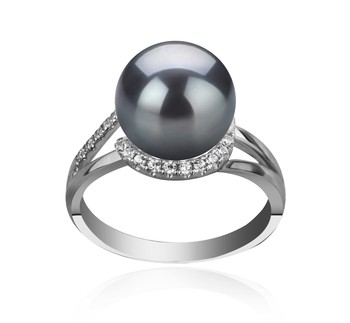 Royisal Black 9-10mm AAA Quality Tahitian 925 Sterling Silver Cultured Pearl Ring
