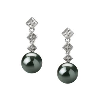 Rozene Black 8-9mm AAA Quality Tahitian 14K White Gold Cultured Pearl Earring Pair