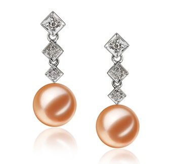 Rozene Pink 9-10mm AAAA Quality Freshwater 14K White Gold Cultured Pearl Earring Pair