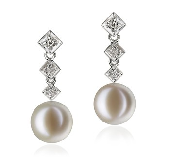 Rozene White 9-10mm AAAA Quality Freshwater 14K White Gold Cultured Pearl Earring Pair