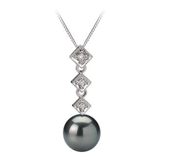 Rozene Black 8-9mm AAA Quality Tahitian 14K White Gold Cultured Pearl Pendant