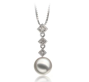 Rozene White 8-9mm AAA Quality Japanese Akoya 14K White Gold Cultured Pearl Pendant