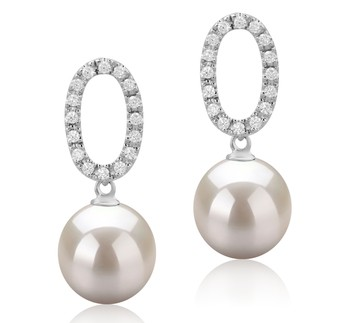 Sabrina White 9-10mm AAAA Quality Freshwater 925 Sterling Silver Cultured Pearl Earring Pair