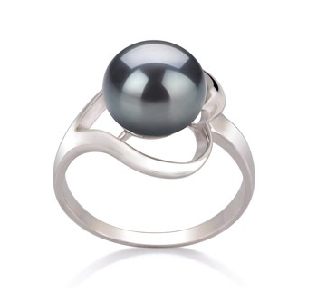 Sadie Black 9-10mm AA Quality Freshwater 925 Sterling Silver Cultured Pearl Ring