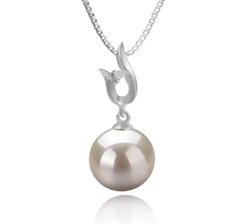 Samantha White 9-10mm AAAA Quality Freshwater 925 Sterling Silver Cultured Pearl Pendant