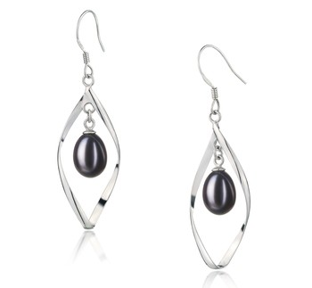 Sandy Black 7-8mm AA - Drop Quality Freshwater 925 Sterling Silver Cultured Pearl Earring Pair