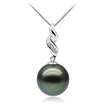 Seductive Black 10-10.5mm AAA Quality Tahitian 10K White Gold Cultured Pearl Pendant