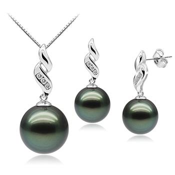 Seductive Black 9-11mm AAA Quality Tahitian 10K White Gold Cultured Pearl Set
