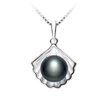 Shell Black 7-8mm AA Quality Freshwater 925 Sterling Silver Cultured Pearl Pendant