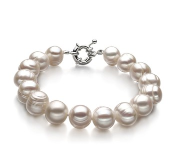 Single White 10-11mm A Quality Freshwater Cultured Pearl Bracelet