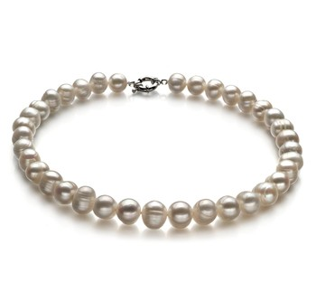 Single White 10-11mm A Quality Freshwater Cultured Pearl Necklace