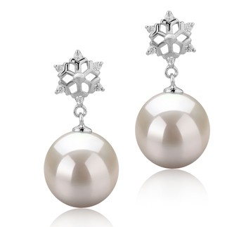 Snow White 10-11mm AAAA Quality Freshwater 925 Sterling Silver Cultured Pearl Earring Pair