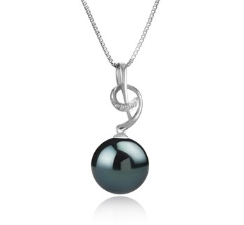 Sofie Black 11-12mm AAA Quality Tahitian 925 Sterling Silver Cultured Pearl Pendant