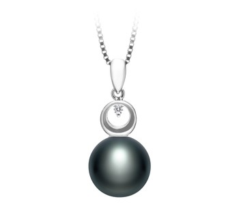 Sonia Black 9-10mm AA Quality Freshwater 925 Sterling Silver Cultured Pearl Pendant