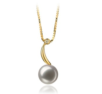 Sora White 8-9mm AAA Quality Japanese Akoya 14K Yellow Gold Cultured Pearl Pendant