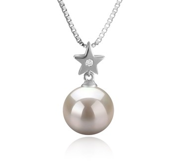Star White 9-10mm AAAA Quality Freshwater 925 Sterling Silver Cultured Pearl Pendant
