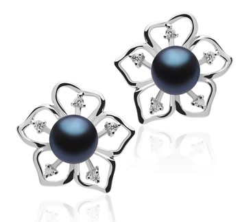 Sunflower Black 7-8mm AAAA Quality Freshwater 925 Sterling Silver Cultured Pearl Earring Pair