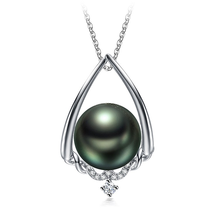 Susan Black 10-11mm AAA Quality Tahitian 14K White Gold Cultured Pearl Pendant