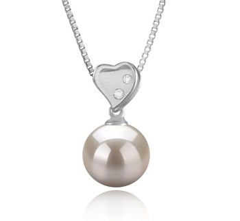 Taima Heart White 9-10mm AAAA Quality Freshwater 925 Sterling Silver Cultured Pearl Pendant