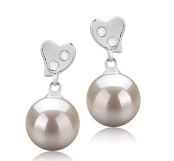 Taima White 8-9mm AAAA Quality Freshwater 925 Sterling Silver Cultured Pearl Earring Pair