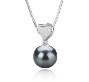 Taima - Heart Black 9-10mm AAA Quality Tahitian 925 Sterling Silver Cultured Pearl Pendant