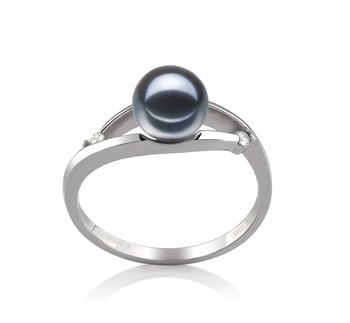 Tanya Black 6-7mm AAAA Quality Freshwater 14K White Gold Cultured Pearl Ring
