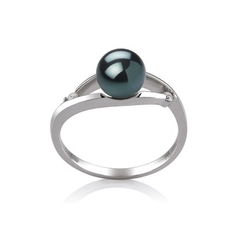 Tanya Black 6-7mm AA Quality Japanese Akoya 14K White Gold Cultured Pearl Ring