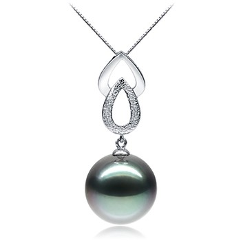 Teardrop Black 11-12mm AAA Quality Tahitian 14K White Gold Cultured Pearl Pendant