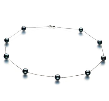 Tin Cup Black 7-8mm AAA Quality Japanese Akoya 14K White Gold Cultured Pearl Necklace