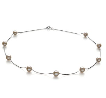 Tin Cup White 7-8mm AA Quality Freshwater 925 Sterling Silver Cultured Pearl Necklace