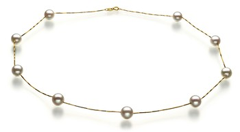 Tin Cup White 7-8mm AAA Quality Japanese Akoya 14K Yellow Gold Cultured Pearl Necklace