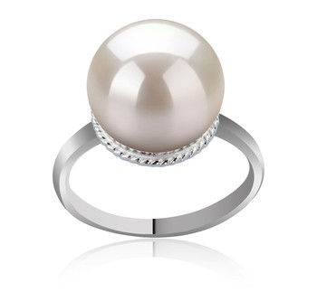 Tindra White 10-11mm AAAA Quality Freshwater 925 Sterling Silver Cultured Pearl Ring
