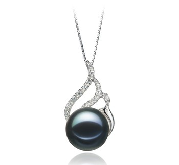 Tracy Black 12-13mm AA Quality Freshwater 925 Sterling Silver Cultured Pearl Pendant