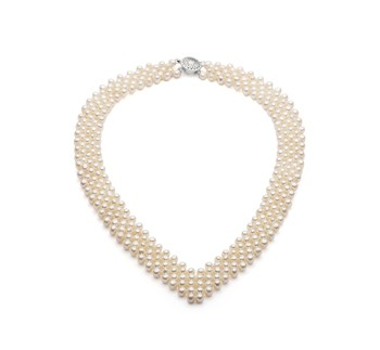 V-Neck White 3-4mm Five Strand AA Quality Freshwater Cultured Pearl Necklace