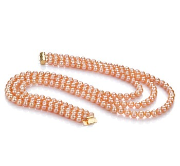 Verena Pink 6-7mm Tripple Strand AA Quality Freshwater Cultured Pearl Necklace