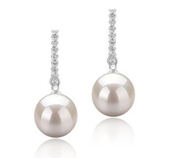 Verna White 10-11mm AAAA Quality Freshwater 925 Sterling Silver Cultured Pearl Earring Pair