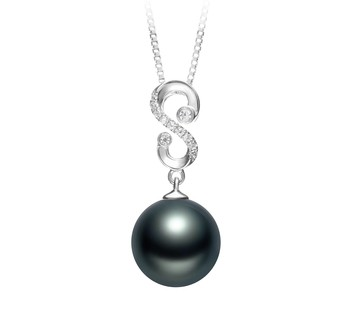 Virginia Black 10-11mm AAA Quality Tahitian 925 Sterling Silver Cultured Pearl Pendant