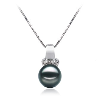 Vivian Black 8-9mm AAA Quality Japanese Akoya 14K White Gold Cultured Pearl Pendant
